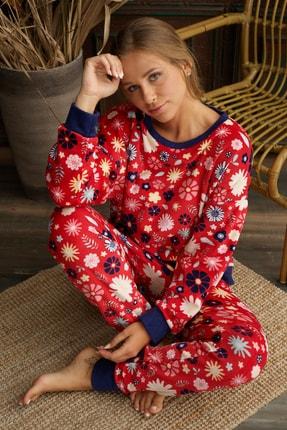 İPEKTENİM TEKSTİL Kadın Kırmızı Polar Pijama Takım