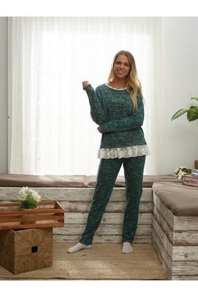 İPEKTENİM TEKSTİL Kadın Yeşil Dantelli Pijama Takım