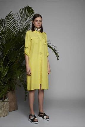 Arzu Kaprol Kadın Sarı Yırtmaçlı ve Cepli Tunik