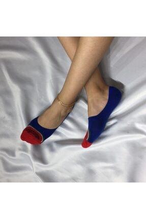 ADEL ÇORAP Kadın Mavi Silikonlu Dikişsiz Bambu Babet Çorap