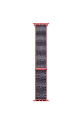 Microsonic Apple Watch Se Koyu Pembe Hasırlı Kordon Woven Sport Loop 40mm