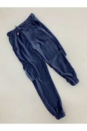 X-Joy Kız Çocuk Kadife Kargo Cepli Alt Lastikli Tayt Pantolon