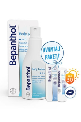 Bepanthol Body Lotion 200 ml Lipstick Dudak Bakım Kremi 4,5 gr Set