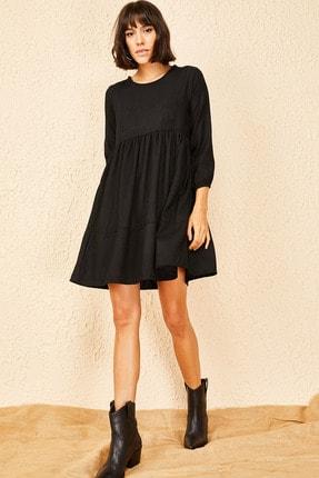 Bianco Lucci Kadın Siyah Fitilli Kadife Kloş Elbise