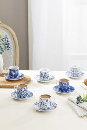 English Home Bella Porselen Kahve Fincan Takımı 80 Ml Lacivert