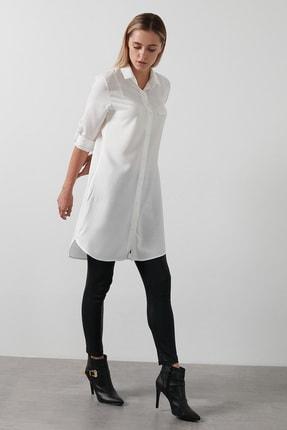 Lela Kadın Beyaz Katlanabilir Kollu Uzun Tunik 59119593