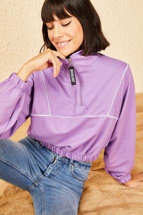 Bianco Lucci Kadın Lila Fermuarlı Sweatshirt