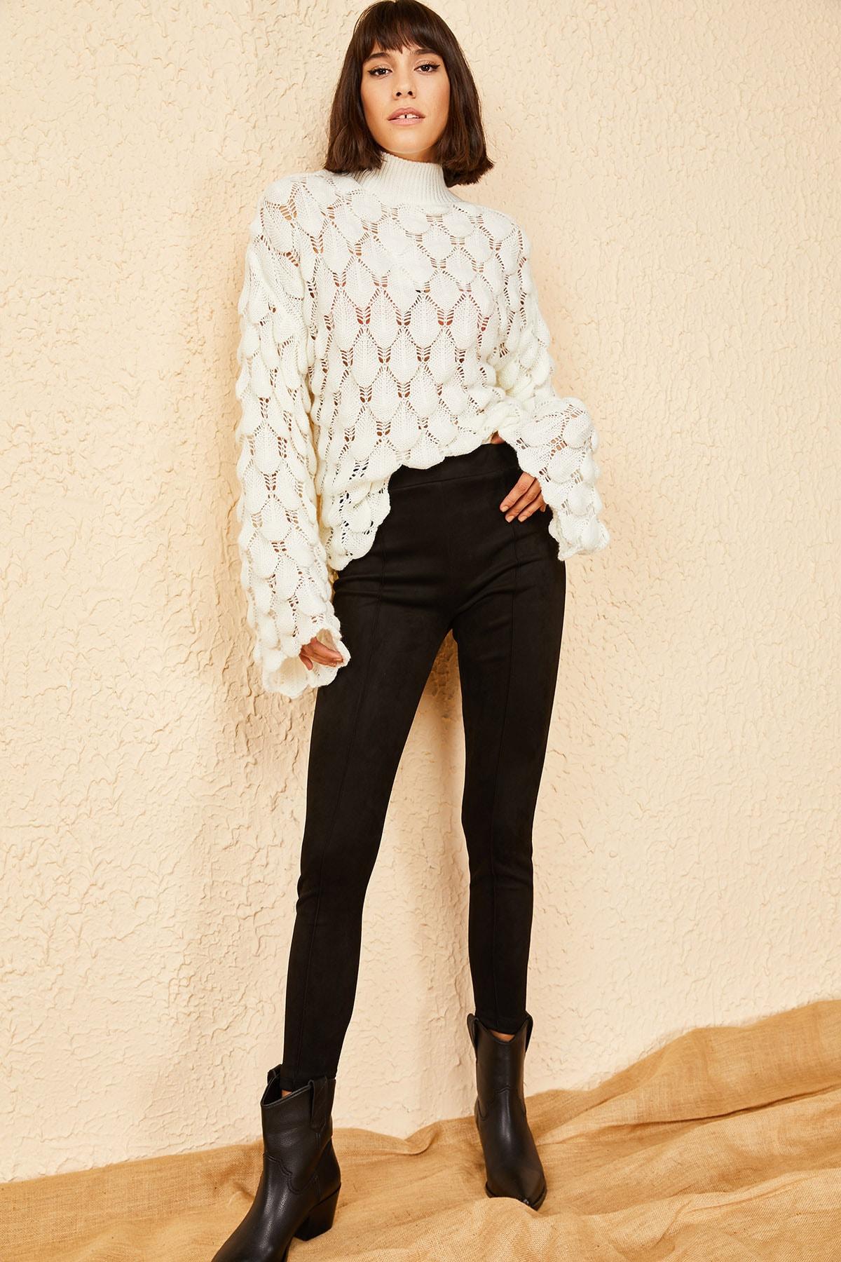 Bianco Lucci Kadın Siyah Çimalı Suet Pantolon 1