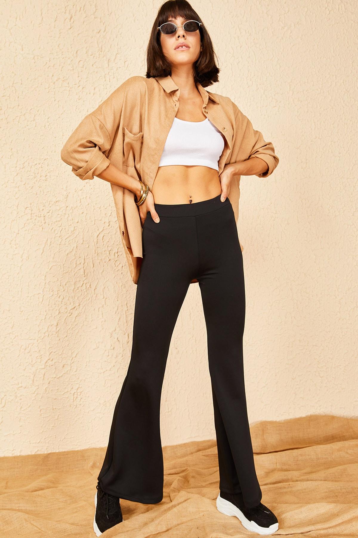 Bianco Lucci Kadın Siyah Dalgıç Kumaş Ispanyol Paça Beli Lastikli Pantolon 1