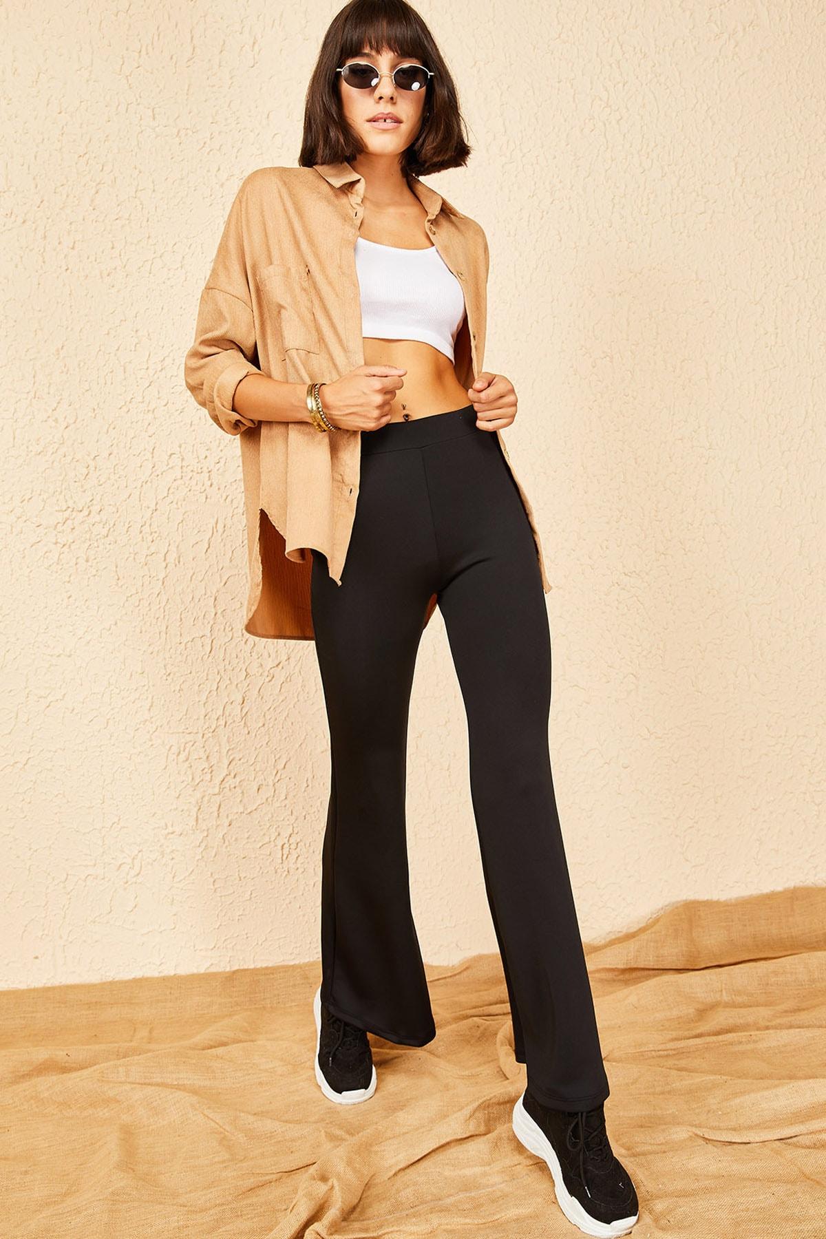 Bianco Lucci Kadın Siyah Dalgıç Kumaş Ispanyol Paça Beli Lastikli Pantolon 2
