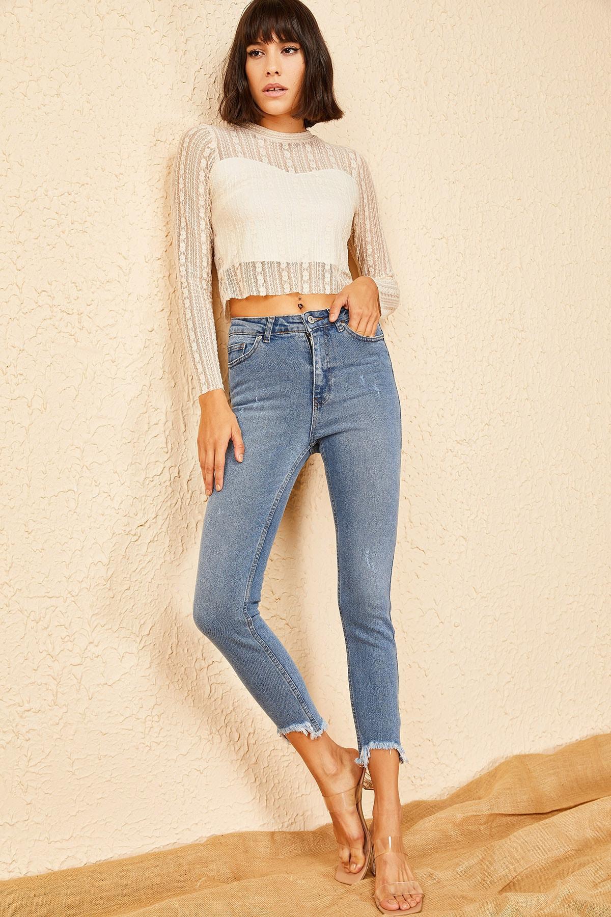 Bianco Lucci Kadın Mavi Peçli Eskitmeli Mom Jeans 1