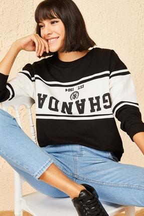 Bianco Lucci Kadın Siyah Ghanda Baskılı Sweatshirt
