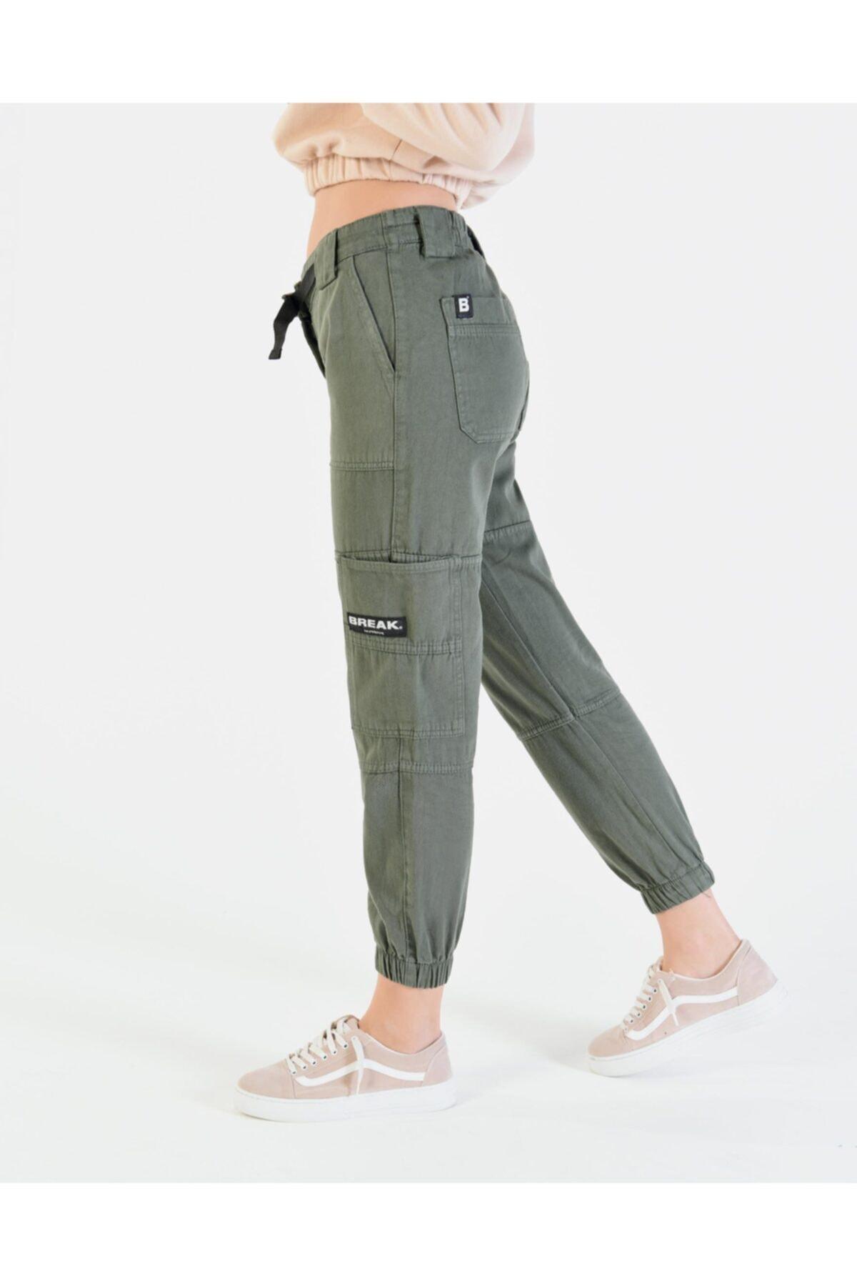 Vision Kadın Haki Cep Detaylı Kargo Pantolon 2