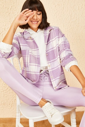 Bianco Lucci Kadın Lila Cepli Kaşe Oduncu Gömleği