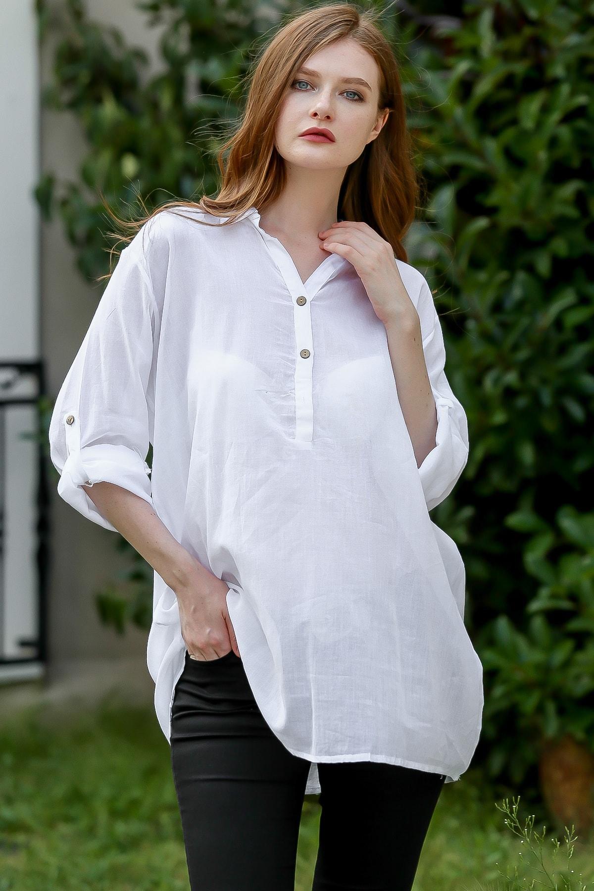 Chiccy Kadın Beyaz Bohem salaş ayarlı kol detaylı patı düğmeli gömlek M10010400GM99511