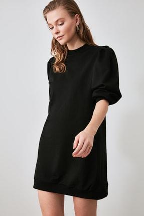 TRENDYOLMİLLA Siyah Balon Kol Örme Sweat Elbise TWOAW21EL1107