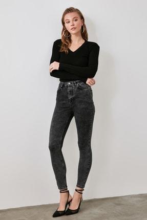 TRENDYOLMİLLA Siyah Yıkamalı üksek Bel Skinny Jeans TWOAW21JE0185