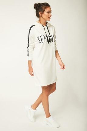 Happiness İst. Kadın Beyaz Kapüşonlu Sweat Elbise AP00109