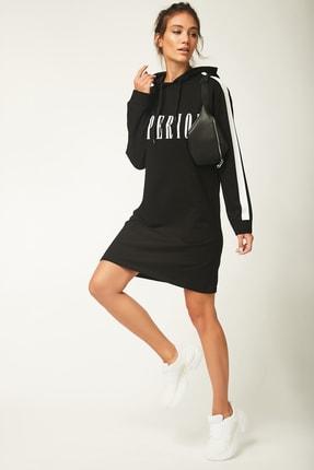 Happiness İst. Kadın Siyah Kapüşonlu Sweat Elbise AP00109