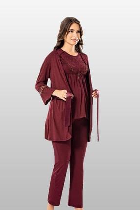 TAMPAP Kadın Bordo Lohusa Pijama Gecelik Takımı 3 lü