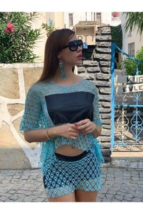 KAYAHAN COLLECTION Kadın Mavi File Detaylı Deri Şortlu Takım