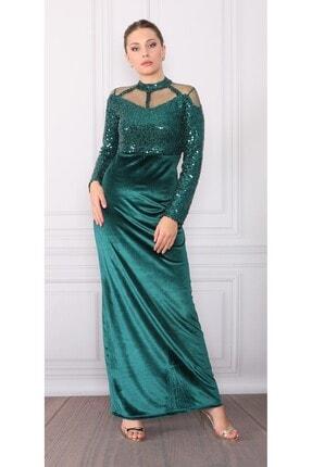 DMR Kadın Yeşil Kadife Detay Elbise