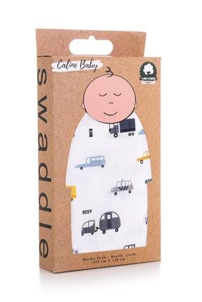 Caline Baby Müslin Bezi Örtü Araba Desen - Gri 120x120 Cm + 4 Adet Ağız Mendili
