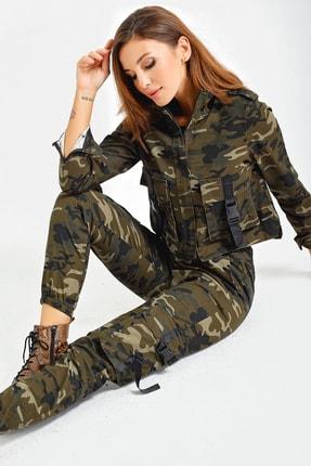 By Saygı Kadın Haki Beli Lastikli Kargo Cepli Kamuflaj Pantolon S-21K1490004