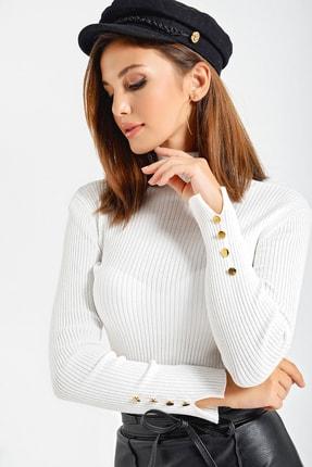 By Saygı Kadın Beyaz Kol Düğmeli Triko Likra Kazak S-21K0530009