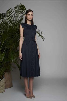 Arzu Kaprol Kadın Lacivert Midi Kemerli Elbise