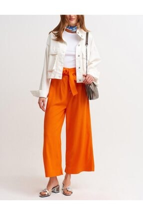 İpekçe  Kadın Turuncu Yüksek Bel Düğme Detaylı Bol Pantolon