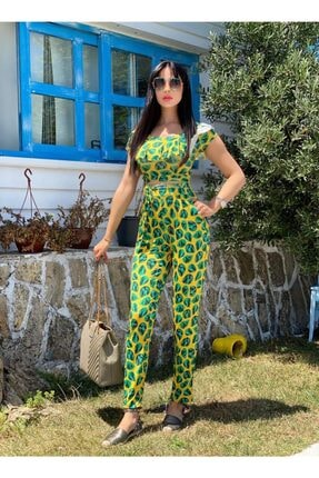 KAYAHAN COLLECTION Kadın Yeşil Desenli Takım