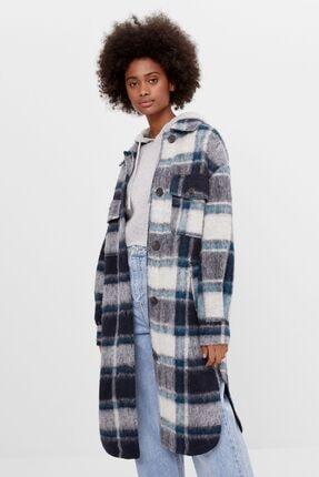 Bershka Kadın Mavi Uzun Ceket