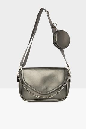 Bagmori Kadın Gümüş Cüzdanlı Kapaklı Çanta M000005155