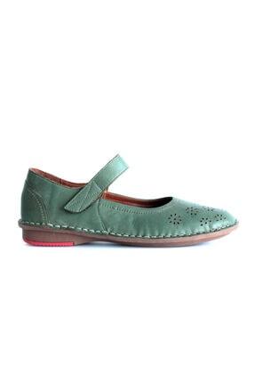 Beta Shoes Kadın Yeşil Deri Ayakkabı