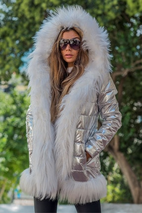 Keyifli Moda Kadın Clara Gümüş Su Geçirmez Kürklü Mont