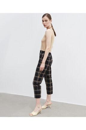 İpekyol Kadın Siyah Ekose Desen Pantolon