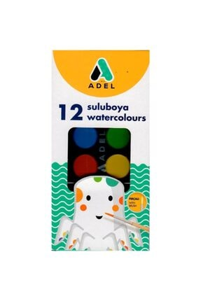 Adel 12li Büyük Sulu Boya 30mm 12 Renk