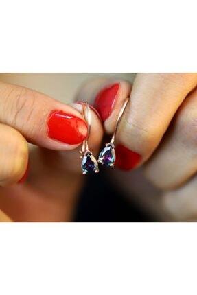 Midyat Gümüş Dünyası Kadın Pembe 925 Ayar Gümüş Zirkon Taşlı Rose Kaplama Küpe