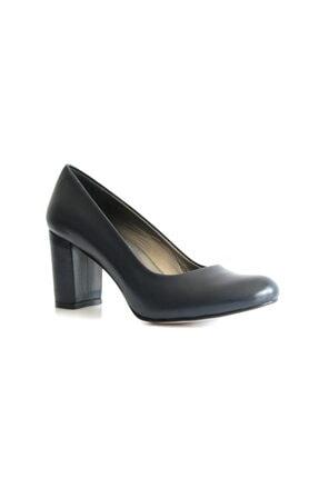 Beta Shoes Kadın Lacivert Hakiki Deri Topuklu Ayakkabı