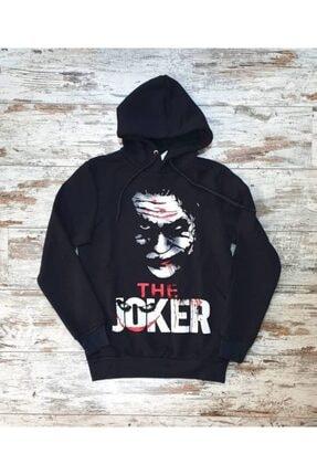TREND Unisex Siyah Joker Baskılı Sweatshirt