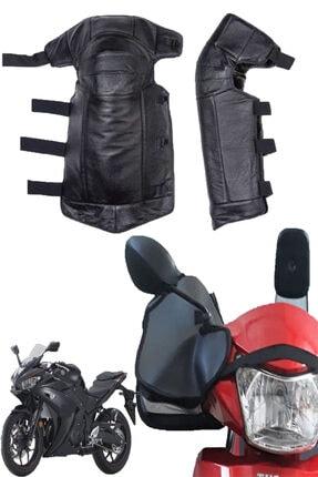 Carneil Deri Motosiklet Rüzgar Dizlik Koruyucu Ve Rüzgar Koruyucu Kumaş Elcik 2'li Set Set11