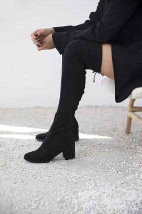 STRASWANS Kadın Siyah Streç Çorap Çizme