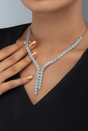 Else Silver Kadın Mavi Aquamarin Taşlı Pırlanta Modeli Gümüş Kolye