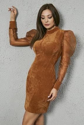 Sateen Kadın Camel Kabarık Omuz Kolları Organze Elbise