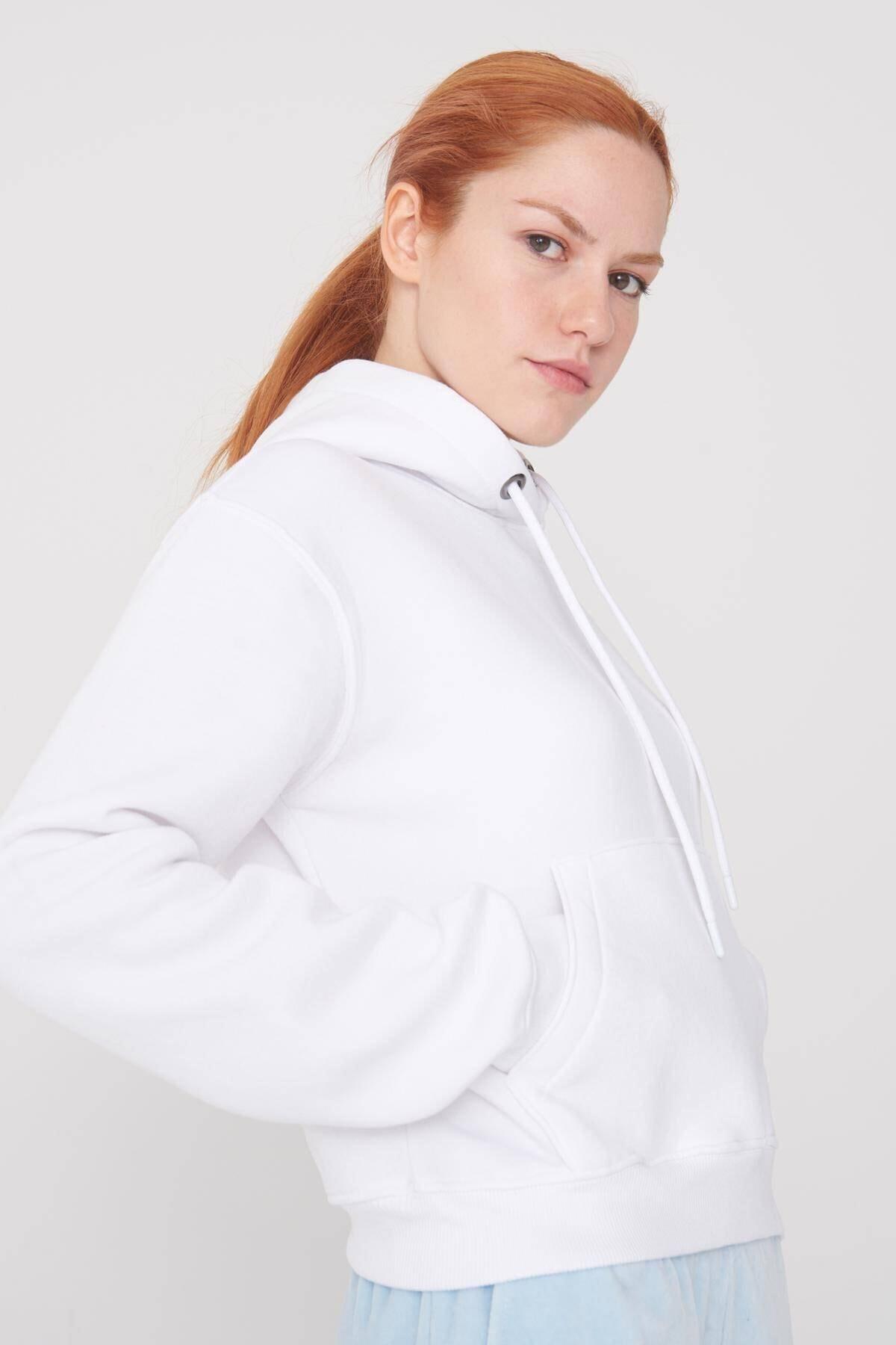 Addax Kadın Beyaz Cep Detaylı Sweat S0818 - F11 ADX-0000021306 2