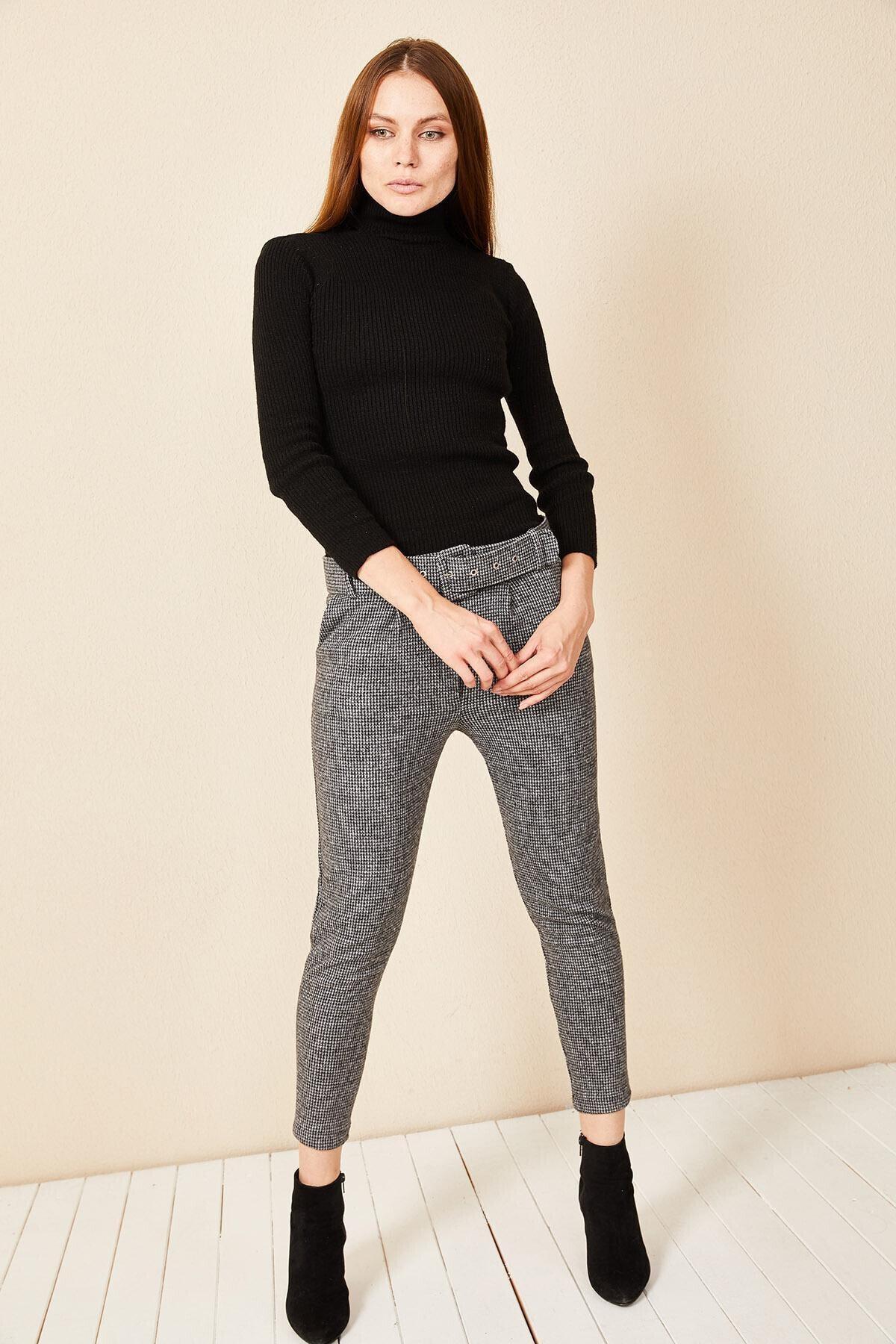 Morpile Kadın Gri Ekose Desen Pantolon 2