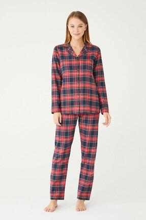 U.S POLO Kadın Kırmızı Boydan Patlı Pijama Takım