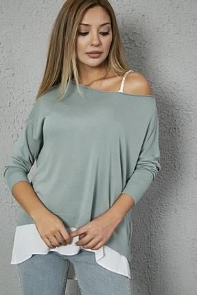 Sateen Kadın Mint Askılı Bluz Detay Triko Kazak