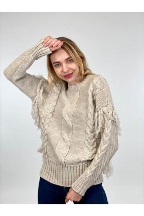 Miss Poem Kadın Taş Rengi Triko Kazak